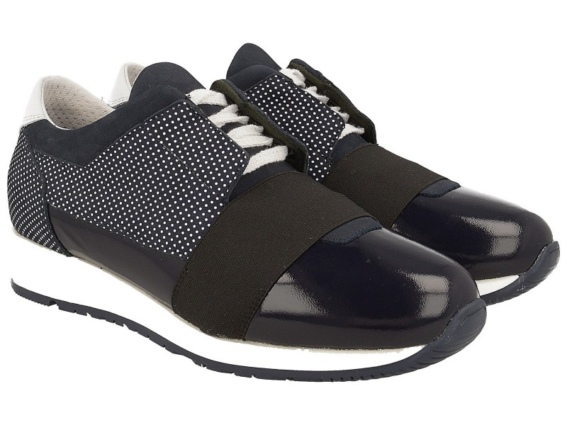 Modne Sneakersy damskie, GRANATOWE, kropki, skóra naturalna