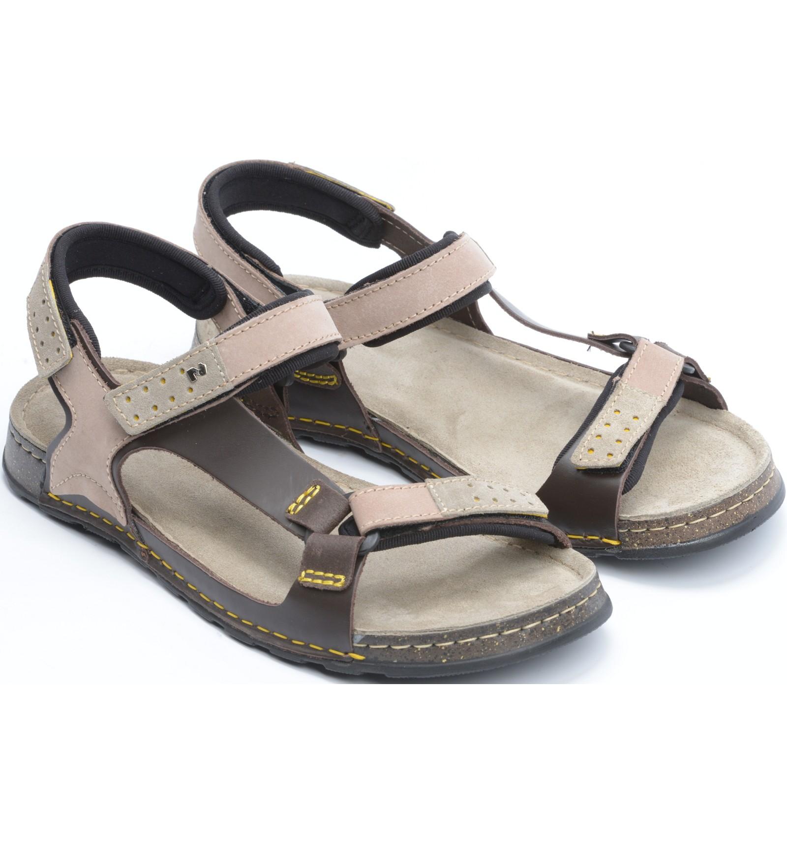Komfortowe sandały męskie, BRĄZOWO BEŻOWE, naturalna skóra