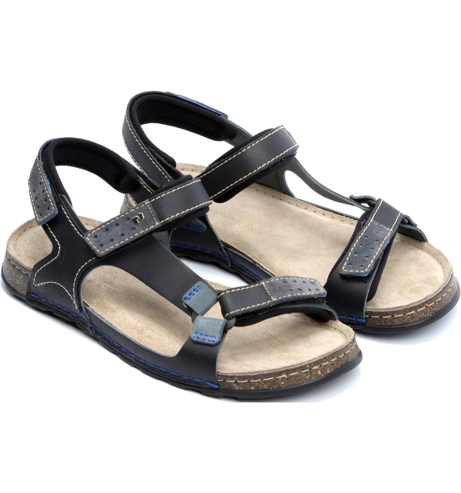 Komfortowe sandały męskie, CZARNO SZARE, naturalna skóra