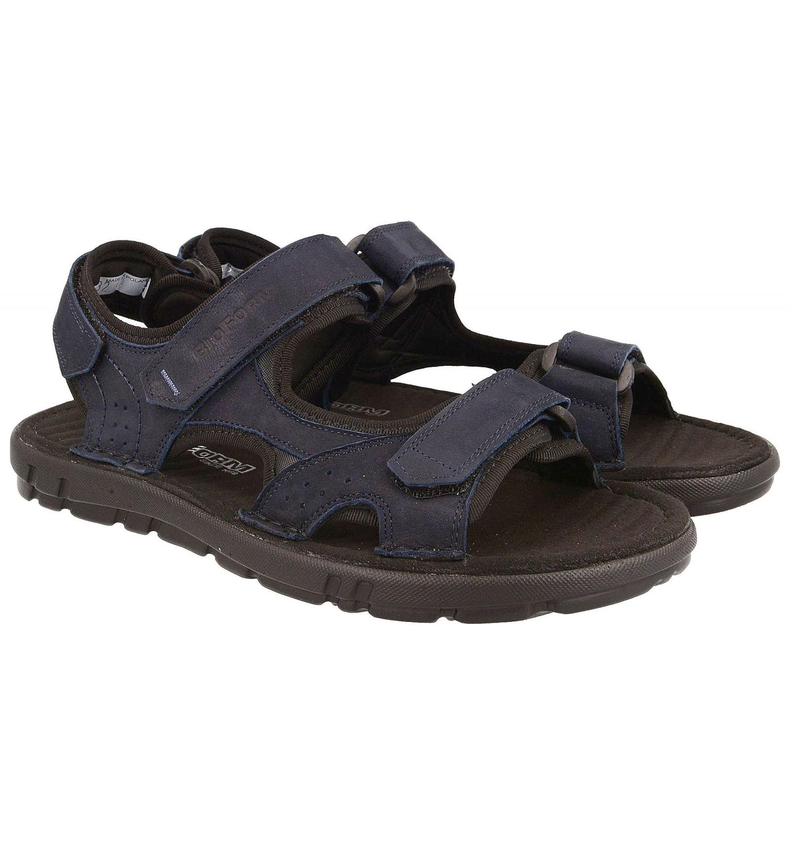 Komfortowe sandały męskie, GRANATOWE naturalna skóra nubukowa, miękka wyściółka
