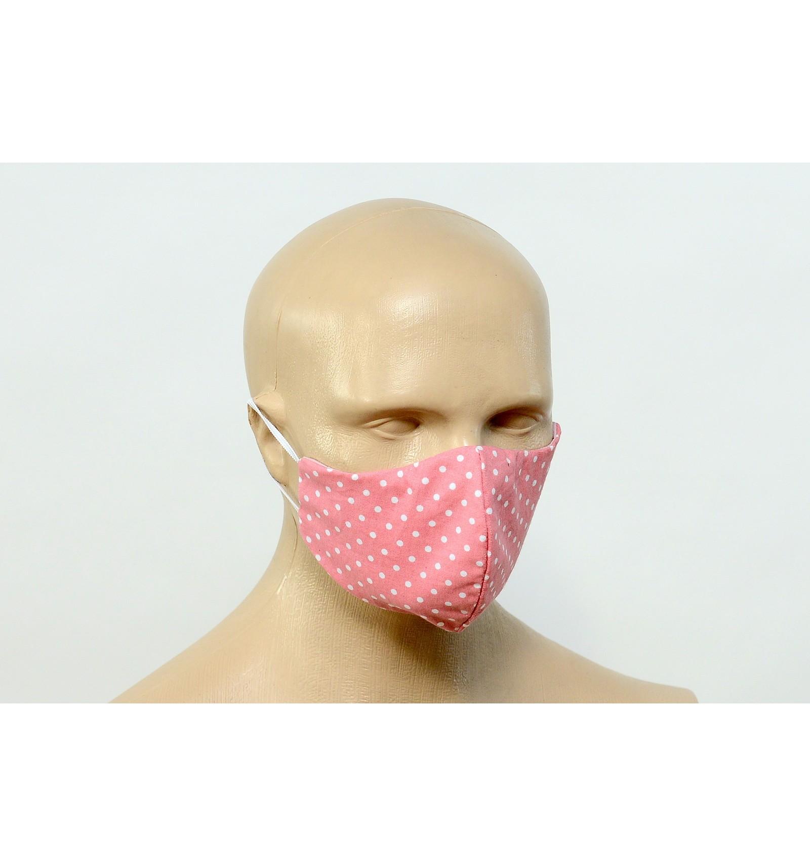 Bawełniana maska PROFI - RÓŻOWA w białe groszki