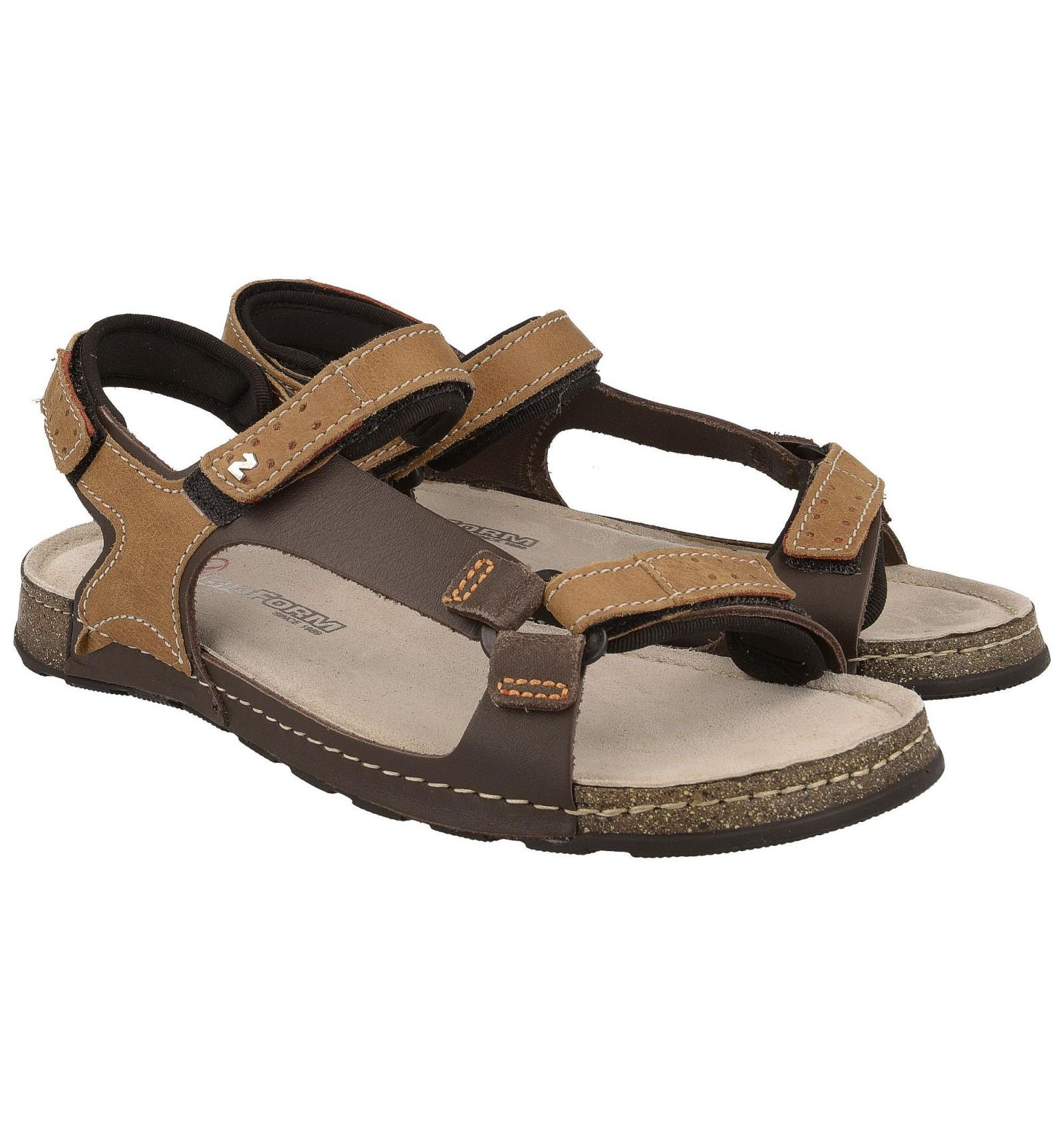 Komfortowe sandały męskie, BRĄZOWO BEŻOWE, naturalna skóra, miękka wyściółka