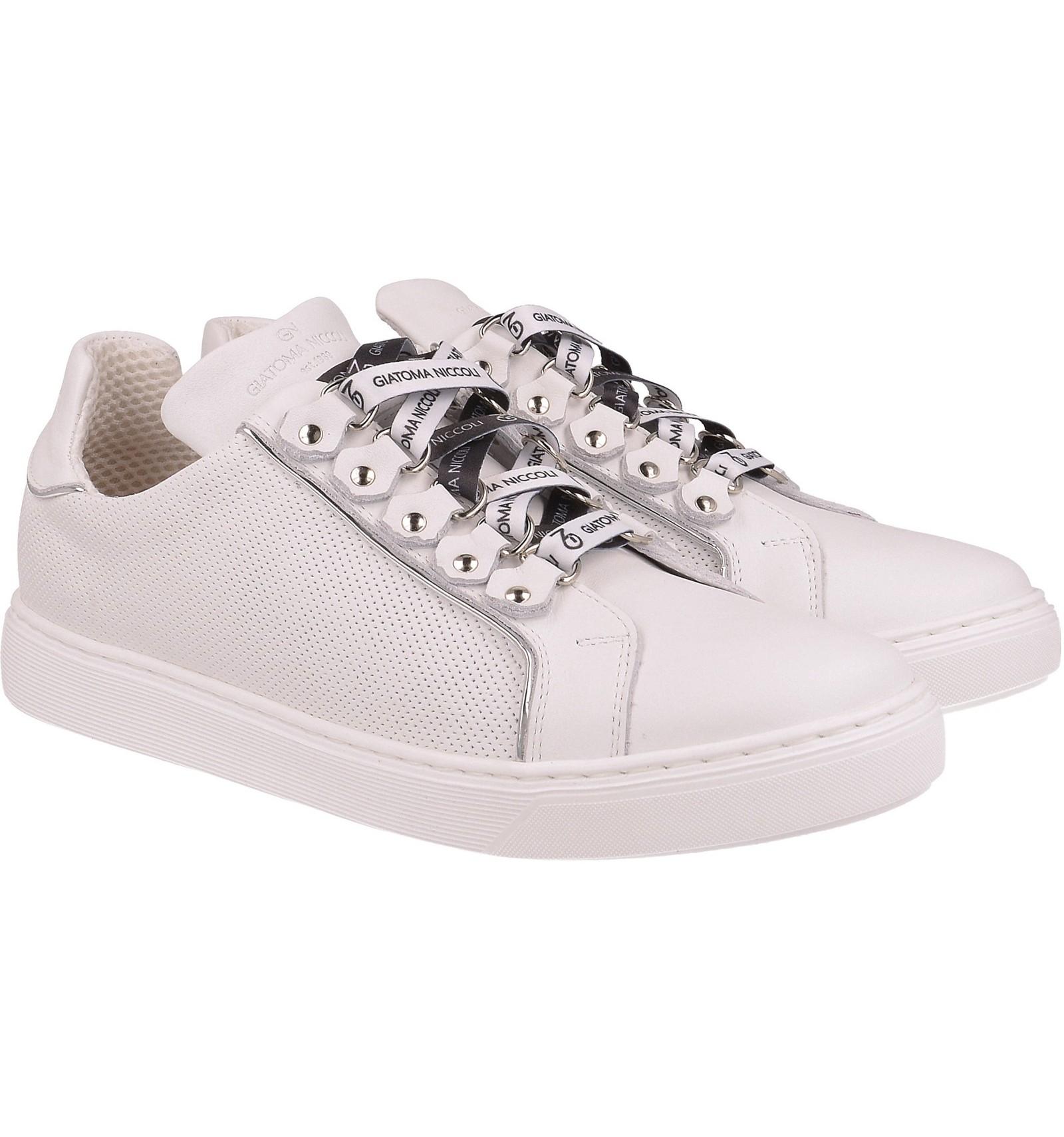 Białe sneakersy z ozdobnym sznurowaniem, skóra naturalna