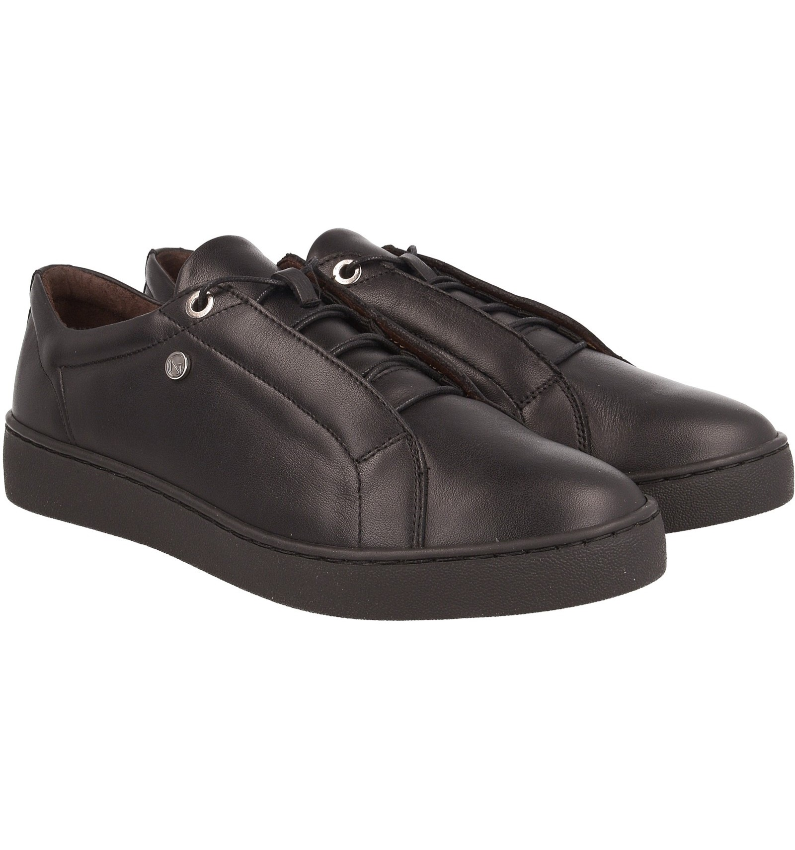 Sneakersy damskie, CZARNE, skóra naturalna, klasyczne