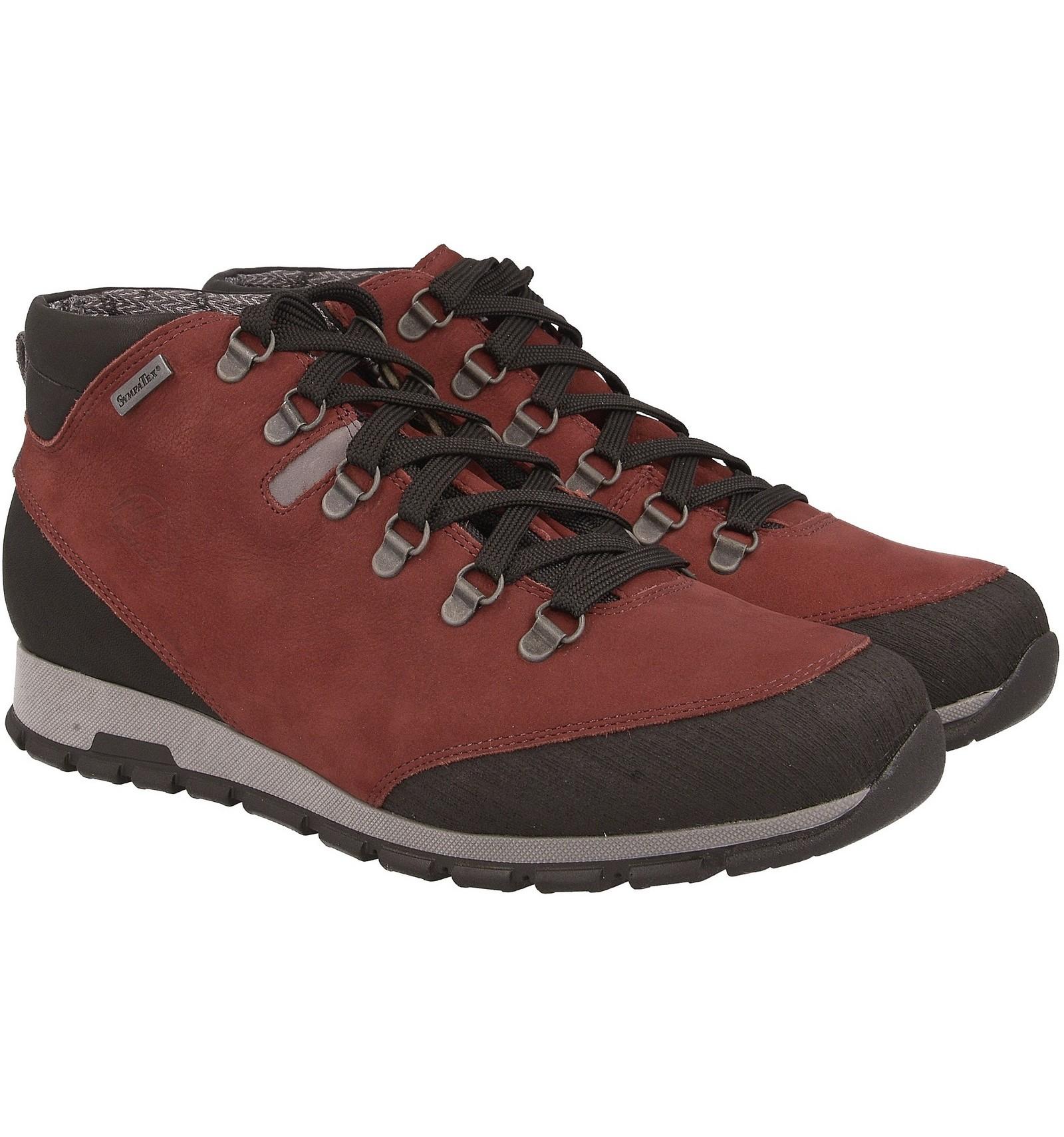 Buty trekkingowe młodzieżowe, niskie, skóra naturalna BORDO, membrana oddychająca