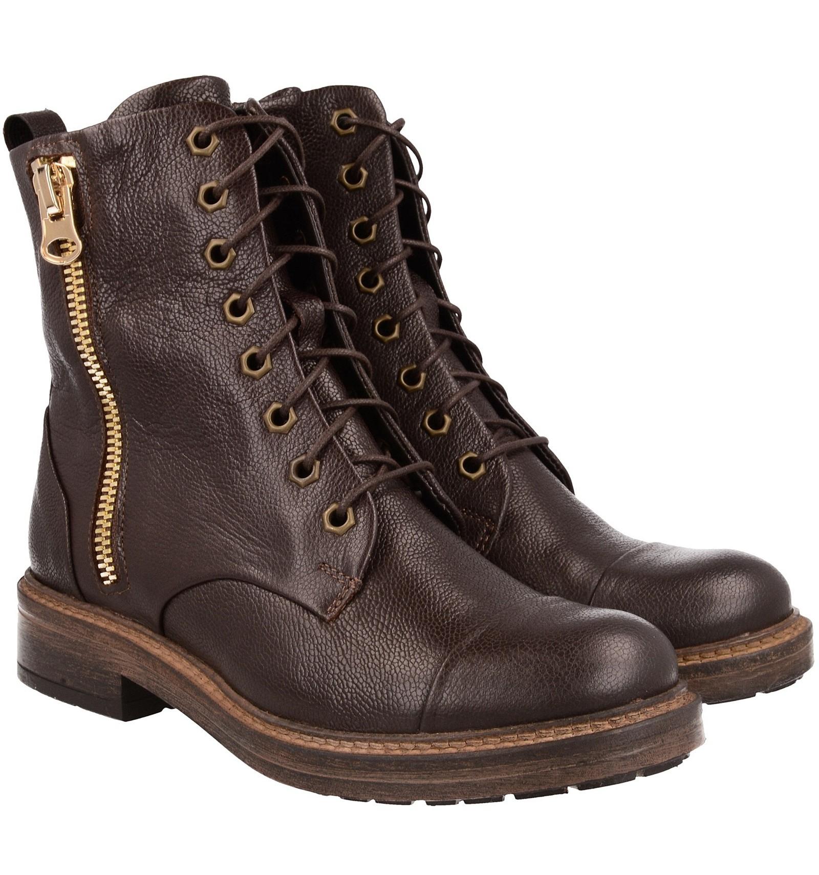 Buty zimowe damskie, BRĄZOWE, naturalna skóra licowa