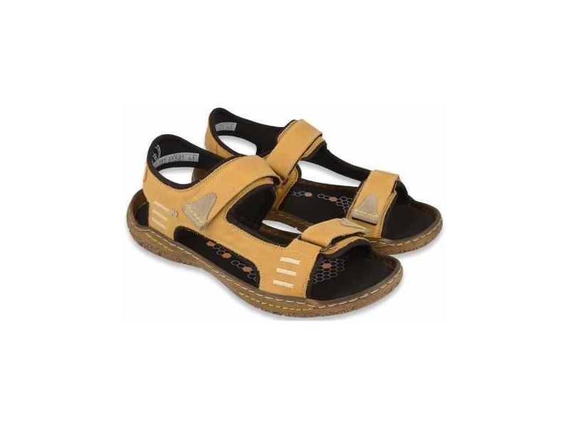 Sportowe sandały męskie, BRĄZOWE, naturalna skóra, miękka