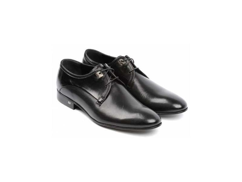 Smart shoes Herren, SCHWARZ, echtes Gesichtshaut, Schnürschuh