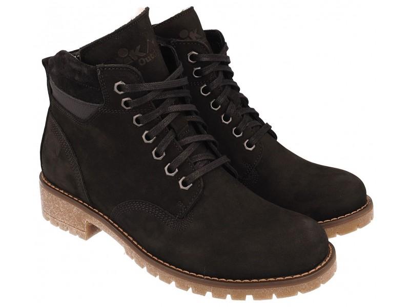 nikbuty.pl | Klasyczne damskie buty zimowe, CZARNE, naturalna