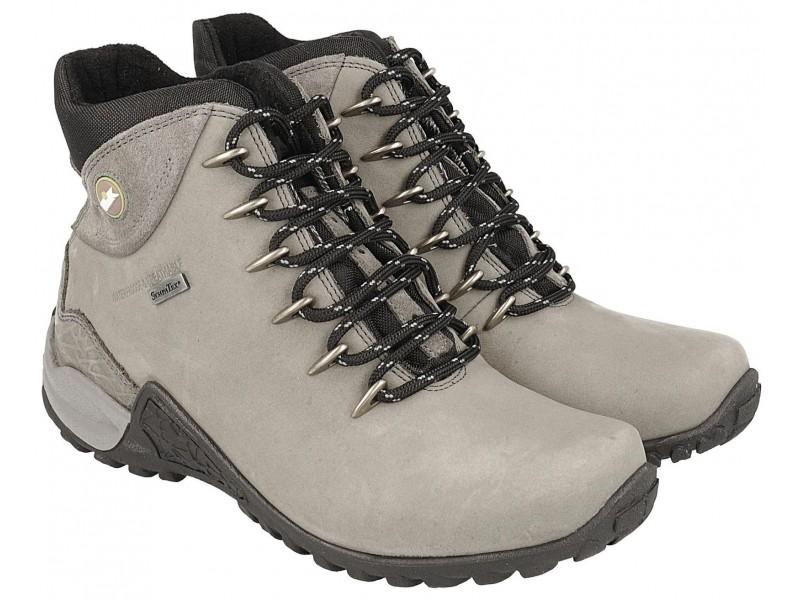 Women's trekking shoes, GREY leather, breathable membrane Sympatex