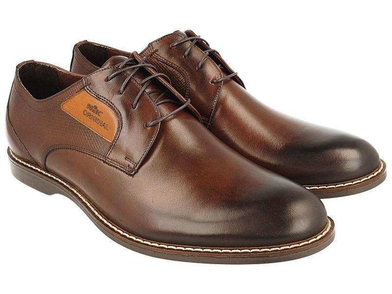 nikbuty.pl | Smart shoes męskie, BRĄZOWE, skóra licowa, lekkie