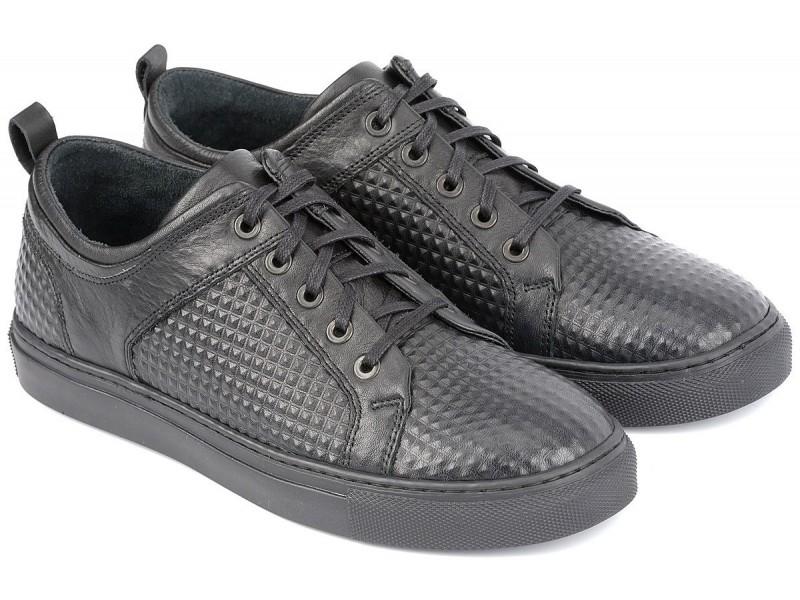 Sneakersy męskie, CZARNE, naturalna skóra licowa-tłoczenie piramidki