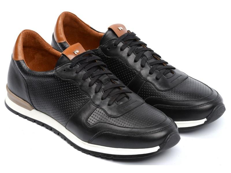 nikbuty.pl | Sneakersy sportowe męskie, CZARNE, naturalna skóra