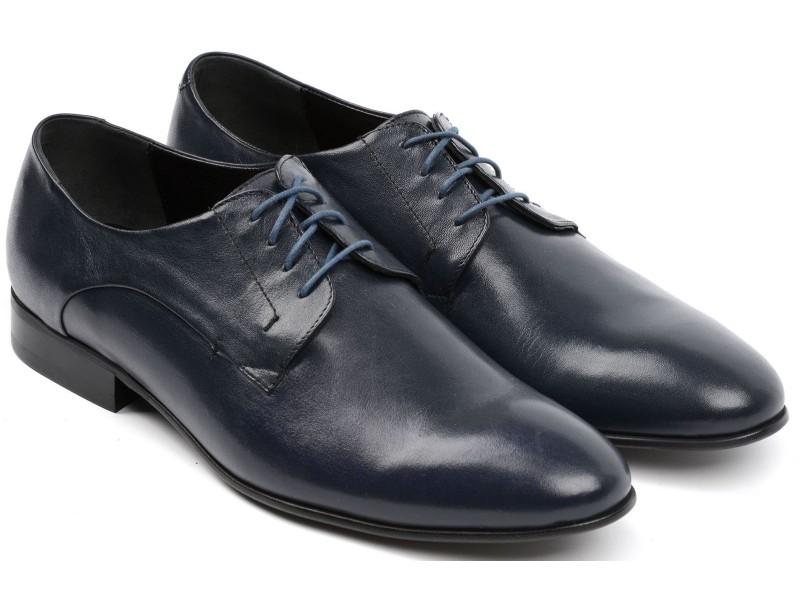 Elegante Herren Schnür-Stiefel, dunkelblau, echtes Gesichtshaut, Glanz