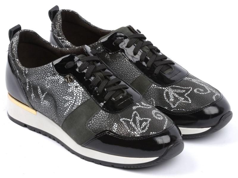 Sneakersy damskie, CZARNE, naturalna skóra licowa, motyw kwiatowy