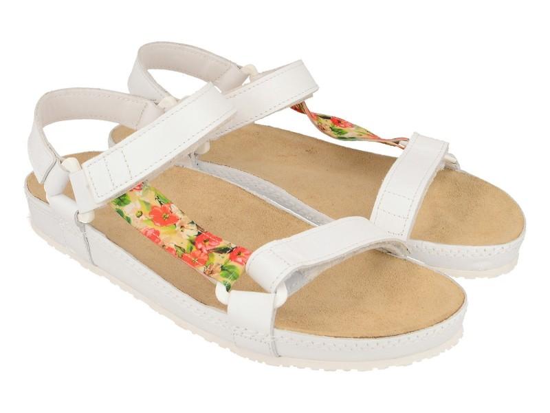 Sandały damskie, BIAŁE, motyw kwiatowy, naturalna skóra licowa