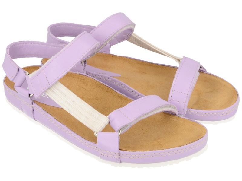 Sandały damskie, FIOLETOWO-PASTELOWE, naturalna skóra licowa