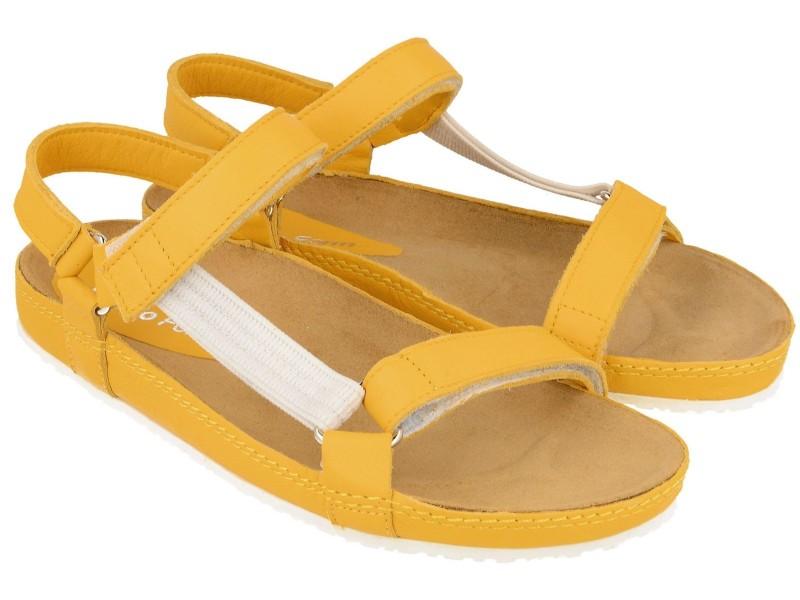 Sandały damskie, ŻÓŁTE, naturalna skóra licowa, wkład