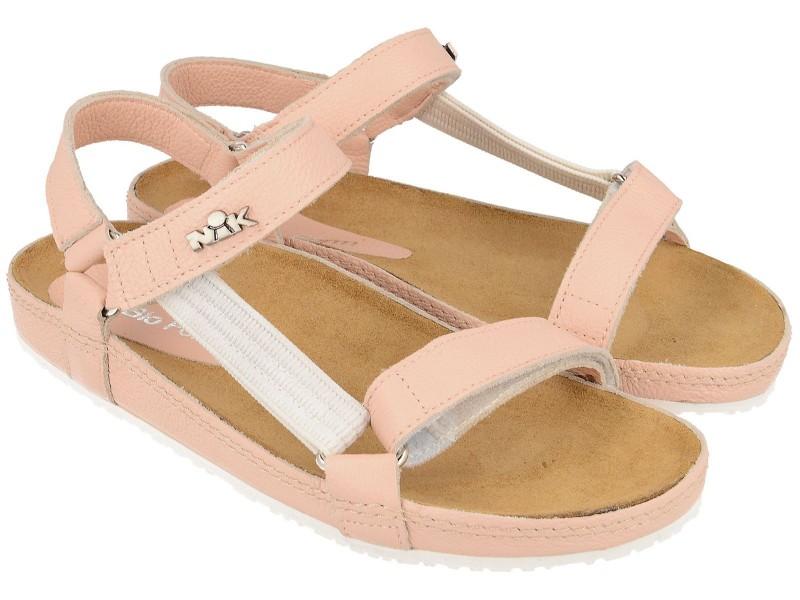 Sandały damskie, RÓŻOWO-PUDROWE, naturalna skóra licowa, wkład