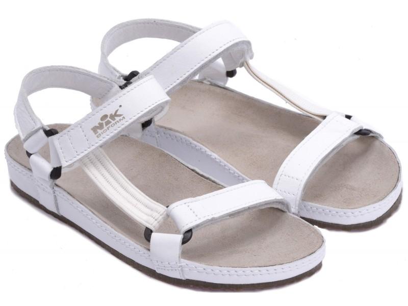 Sandały damskie, BIAŁE, naturalna skóra licowa, wkład