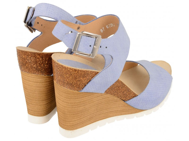 8f3577a28a0 To buy women's wedge Sandals, BLUE, genuine leather