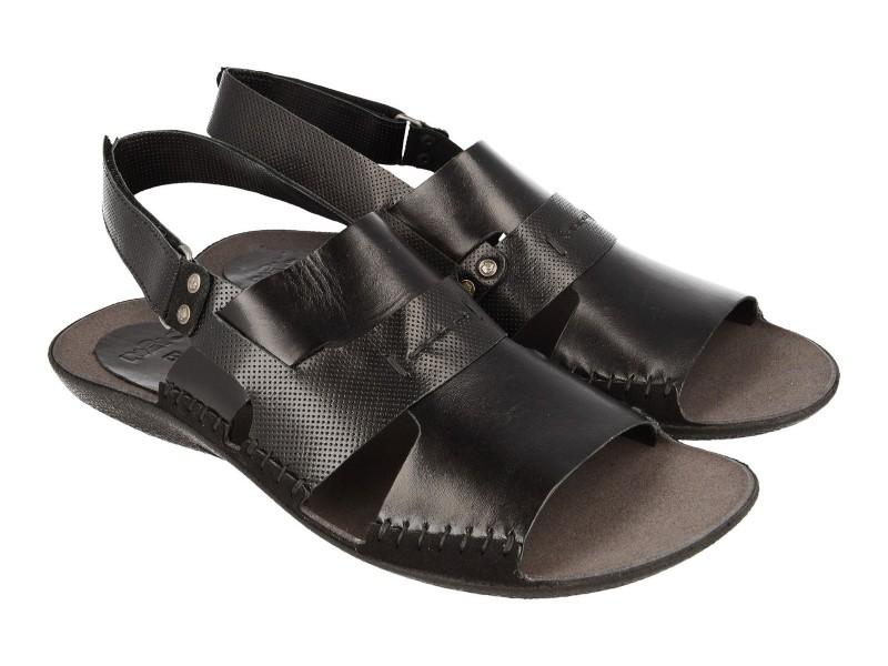 Lekkie sandały męskie, CZARNE, naturalna skóra licowa