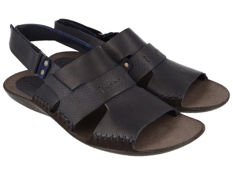 Lekkie sandały męskie, GRANATOWE, naturalna skóra licowa