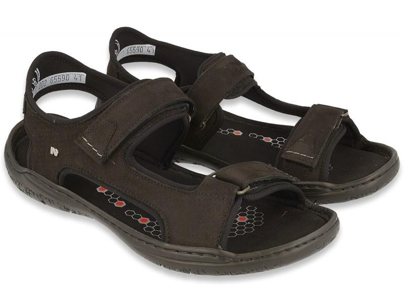 Sportowe sandały męskie, CZARNE, nubukowa skóra naturalna