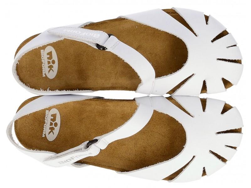 b220075c719251 ... Sandały damskie, BIAŁE, zakryte palce, naturalna skóra licowa ...