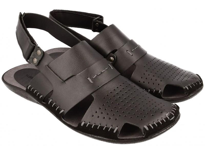 Lekkie sandały męskie, CZARNE, naturalna skóra licowa, zakryte