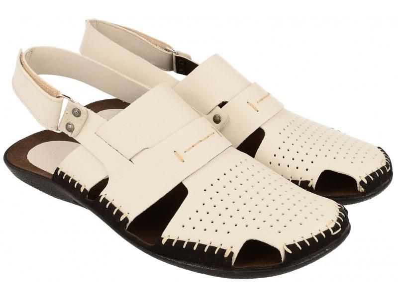 Lekkie sandały męskie, BEŻOWE, naturalna skóra licowa, zakryte