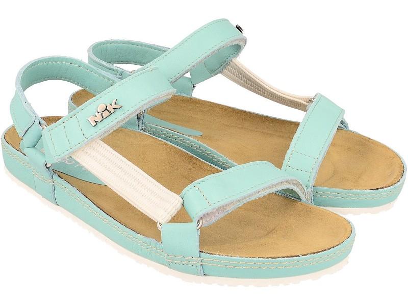 Sandały damskie, MIĘTOWO-PASTELOWE, naturalna skóra licowa